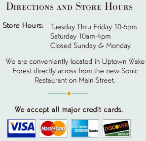 Wake Forest Jewelers Hours and Directions.  We also take major credit cards.