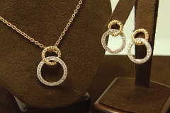 14k YG/WG Diamond Circle Pendant & Matching Post Earrings