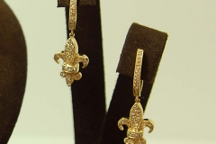 14k YG Diamond Fleurdelis French Clip Earrings