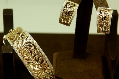 14k YG Hand Made Diamond Bangle/Omega Clip Earrings