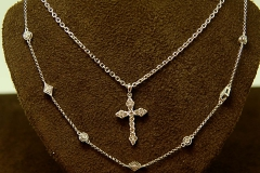 14k WG Diamond Cross & 14k Diamond Link Chain