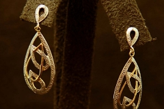 14k YG/WG Teardrop Earrings