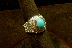 14k WG Turquoise & Diamond Ring