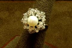 14k WG Pearl & Diamond Ring