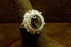 14k WG Diamond & Black Star Sapphire Ring