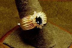 14k YG Sapphire & Diamond Ring