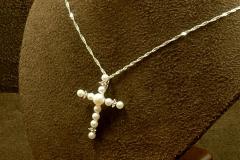 14k WG Pearl & Dia. Cross Pendant