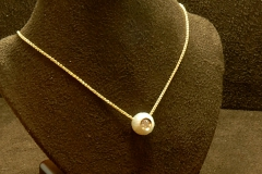 14k YG Dia/Flower Pearl Pendant Galatea